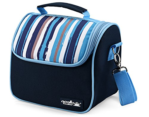 2 Ice Lunch Bag (Goldwheat Waterproof Lunch Tote Insulated Lunch Bag Cooler Bag with 2 Detachable Liners and Shoulder Strap, Blue)