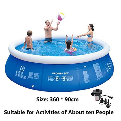Super11Six 55333 Piscina sobre Suelo portátil, Redonda con Bomba de Aire Piscina, 360 x 90 cm, hasta Ocho Personas,Pool…