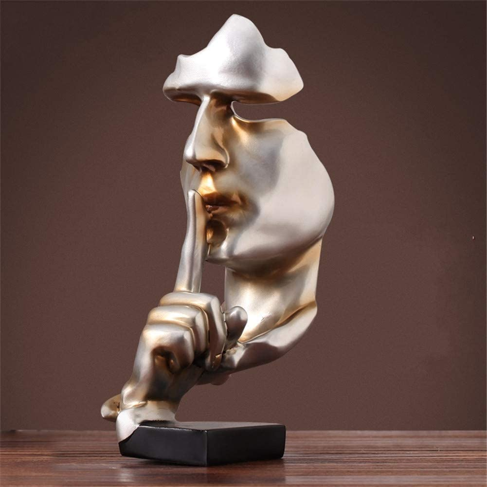 4x4x11inch Modern Creative Thinker Silence is gold Abstract Sculpture,Nordic-style Retro Ornament Artwork For Office Living room-E 10x11x28cm