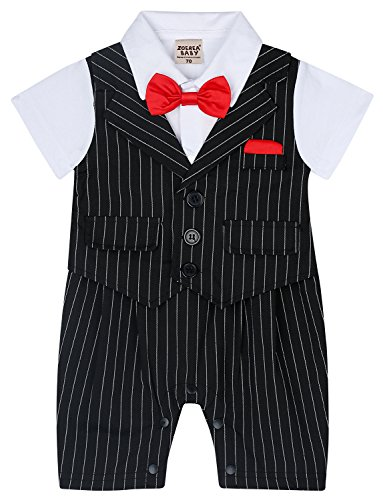 - ZOEREA Baby Boy Stripe Suits Bow-Tie Short Sleeve Shirt Infant Jumpsuits Label 95/12-18 Months