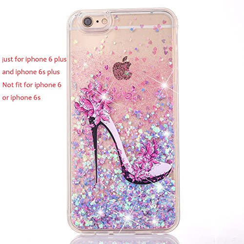 iPhone 6 plus iphone 6S plus Glitter Case, UCLL iPhone 6 plus /6S plus Liquid Case,High Heeled Moving Bling Glitter Floating Cover for 5.5 iPhone 6+ /6S+ with a Screen Protector (blue & pink)