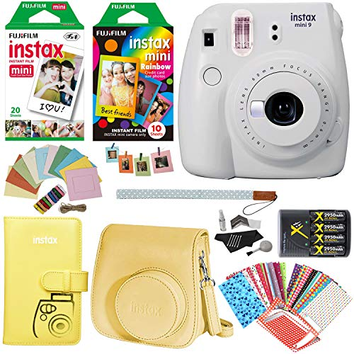 Fujifilm Instax Mini 9 Instant Camera (Smokey White), Rainbow Film Pack, Twin Pack Instant Film, Case, 4 AA Rechargeable Battery with Charger, Square Photo Frames and Accessory Bundle from Ritz Camera