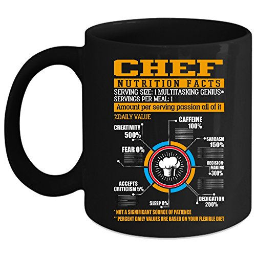 Chef Nutrition Facts Coffee Mug, Amount Per Serving Passion
