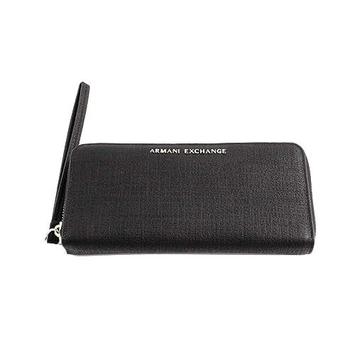 cfbae5ab6a Armani Exchange Texturized Round Zip Wristlet, Women's Wallet, Black  (Nero), 11.0