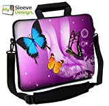 MySleeveDesign Notebook Carry Bag Laptop Neoprene Case with Shoulder Strap 17 - 17.3 Inch - SEVERAL DESIGNS - Butterfly Purple