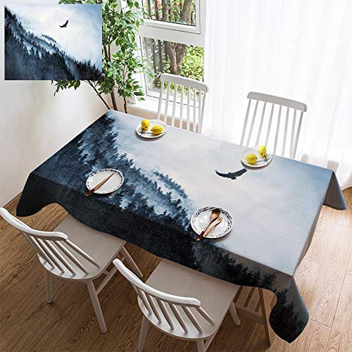 HOOMORE Simple Color Cotton Linen Tablecloth,Washable, Mountain and Eagle Decorating Restaurant - Kitchen School Coffee Shop Rectangular 108×54in ()