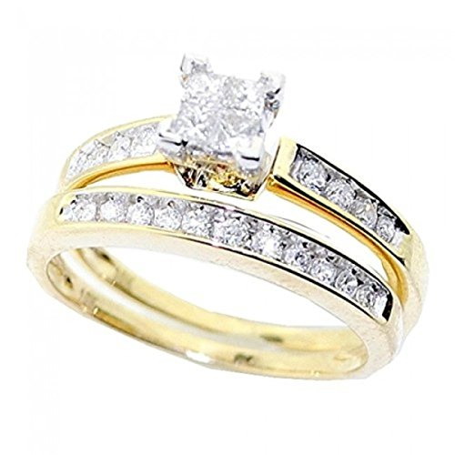 Princess Cut Diamond Engagement Ring and Wedding Band Set 1/2 Carat (ctw) in 10K White Gold (yellow-gold, 5) 10k Bridal Set Ring
