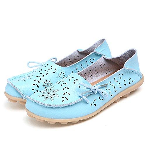 EQUICK Damen Leder Slipper Lässige Mokassin Driving Outdoor Schuhe Innen Flache Slip-On Slippers Hellblau
