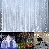 Ucharge Curtain Lights Led Icicle Christmas String Fairy Wedding Lights 600led 19.8feet Window Curtain 8modes White Window Light Decor Party/Kitchen/Bathroom/Bedroom String Light