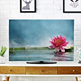 PRUNUS TV dust Cover Bamboo and Water Lily Reflected in a Serenity Pool TV dust Cover W19 x H30 INCH/TV 32''