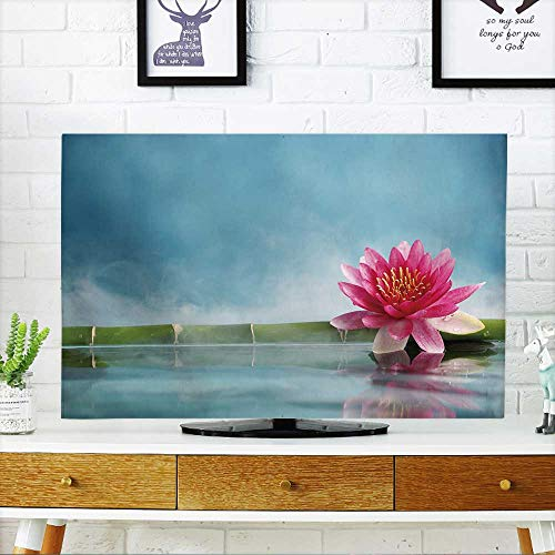 PRUNUS TV dust Cover Bamboo and Water Lily Reflected in a Serenity Pool TV dust Cover W19 x H30 INCH/TV 32'' by PRUNUS