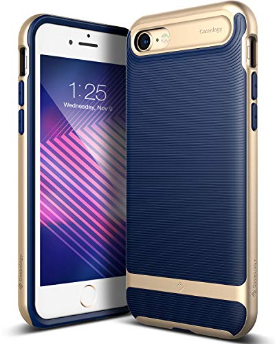 Solid Dark Blue Case Cover - Caseology for iPhone 8 case/iPhone 7 case [Wavelength Series] - Slim Fit Dual Layer Protective Textured Grip Corner Cushion Design Case for iPhone 8 / iPhone 7 - Navy Blue