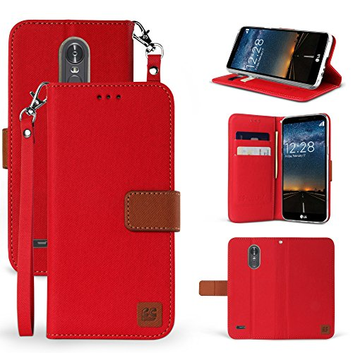 Tone Case Leather Strap (Spots8 Case For LG Stylo 3, Stylo 3 Plus, Stylus 3, LS777, Faux Leather 2 Tone Hybrid Flip Wallet Cover With Phone Strap Built In Kickstand Card Slots And Magnetic Flap Closure - Red/Brown)