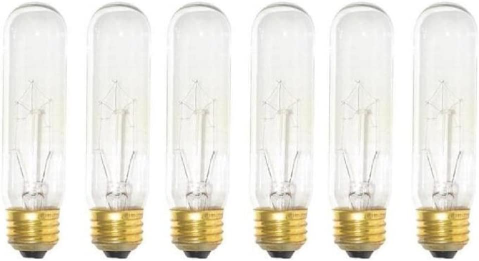 Pack of 6 40 Watt T10 Clear Tubular Incandescent Medium (E26) Base 120-Volt Light Bulb