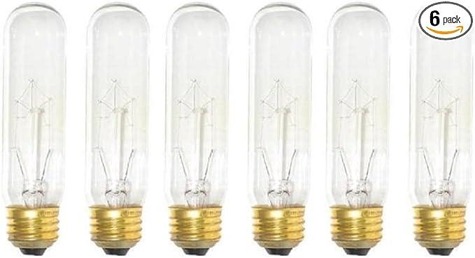 Sterl Lighting Pack Of 6 Bulbs 40 Watt T10 Clear Tubular Incandescent Medium Base E26 120 Volt Light Bulb Amazon Com