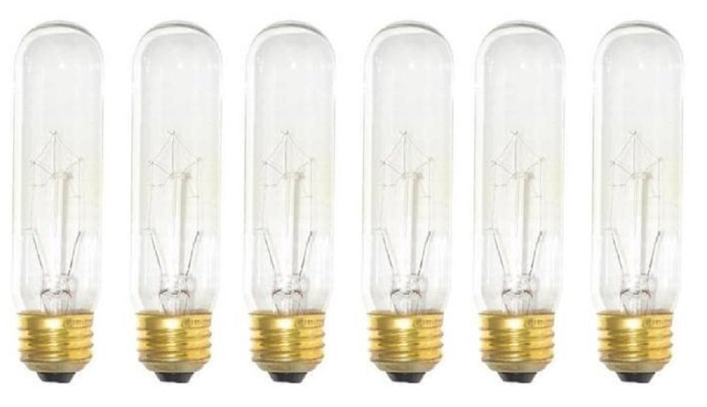 Base 120-Volt Light Bulb H/&PC-53355 Pack Of 6 40 Watt T10 Clear Tubular Incandescent Medium E26