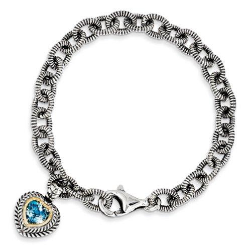 Icecarats Créatrice De Bijoux En Argent Sterling W / 14K 6.43Swiss Topaze Bleue Bracelet De Coeur De 7.5In Dans 7,5 Pouces