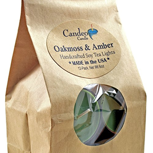 Oakmoss & Amber, Scented Soy Tealights, 12 Pack Clear Cup Candles