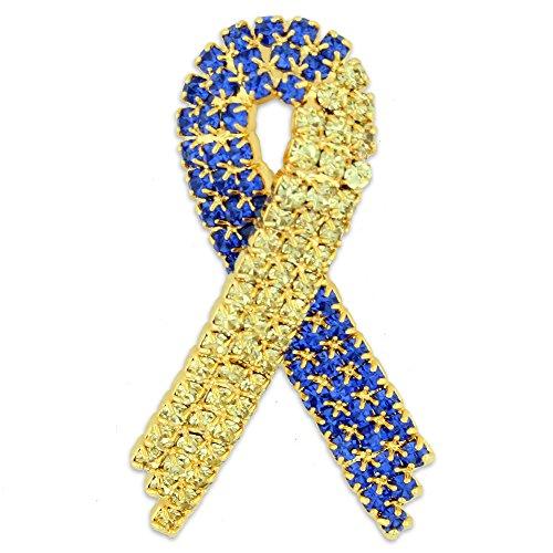 Awareness Ribbon Down Syndrome - PinMart Rhinestone Down Syndrome Awareness Ribbon Brooch Pin