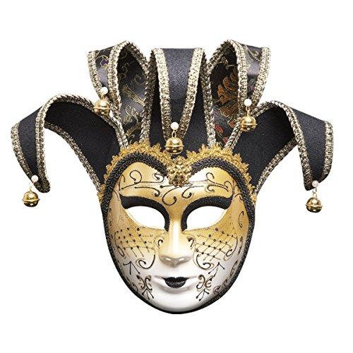 ODOSAN Full Face Masquerade Party Venetian Jester Decorative Mask Black -