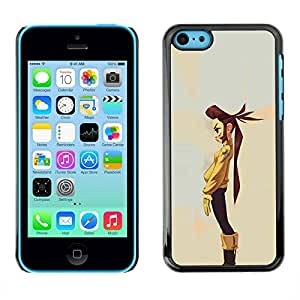 Slim Design Hard PC/Aluminum Shell Case Cover for Apple Iphone 5C Tomboy Girl Long Hair Art Painting Cartoon / JUSTGO PHONE PROTECTOR