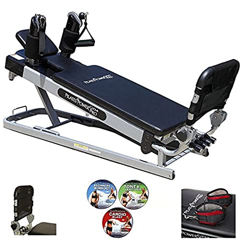 Pilates Power Gym 'Pro' 3-Elevation Mini Reformer Exercise System with 3 Pilates Workout DVDs and the Power Flex Cardio (Beginner Rebounder Dvd)