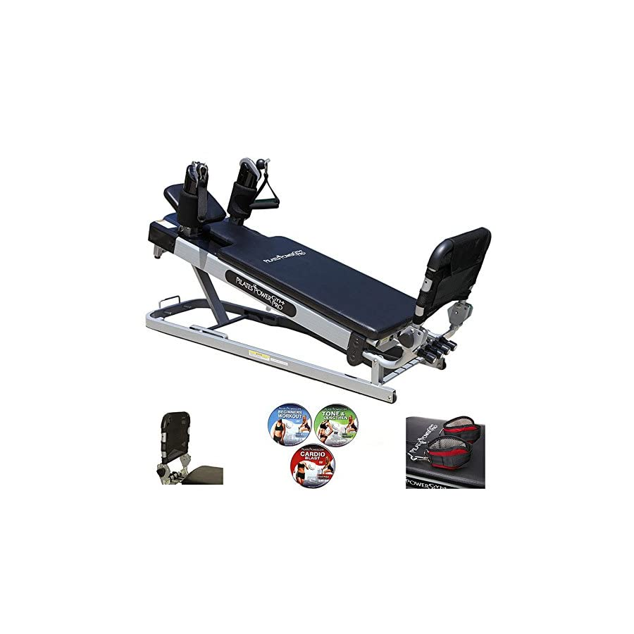 Pilates Power Gym 'Pro' 3 Elevation Mini Reformer Exercise System with 3 Pilates Workout DVDs and The Power Flex Cardio Rebounder