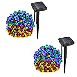 voona Solar Outdoor String Lights 200LED 2-Pack 72ft Multi-Color LED Decoration Strings for Holiday Party Outdoor Garden (Multi-Color)