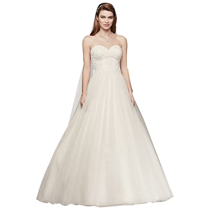 47065240d9ca Tulle Strapless Wedding Dress with Lace Corset Bodice Style WG3633, White,  14