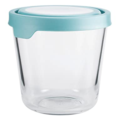 Anchor Hocking 11838AHG17 TrueSeal Glass Food Storage Containers with Airtight Lids, 3 1/2-Cup, Mineral Blue