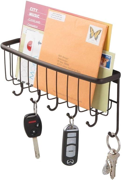 NEX Wall Mount Mail Organizer Storage Basket Set of 2 Metal Entryway Mail Sorter with 5 Hooks for Coat Key Leash