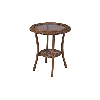 Awesome Hampton Bay Spring Haven 20 In Brown All Weather Wicker Patio Round Side Table Alphanode Cool Chair Designs And Ideas Alphanodeonline