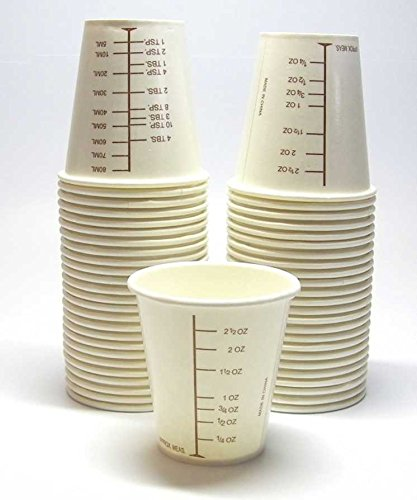 50 3oz Coated Paper Graduated Cups for Mixing Paint, Stain, Epoxy, Resin
