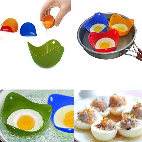 ShungHO 4PCS Random Colour Silicone Egg Poacher Kitchen P...