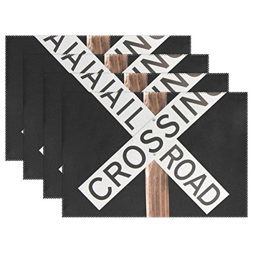 (ENEVOTX Railroad Crossing Sign Train Railway Warning Placemats Set Of 4 Heat Insulation Stain Resistant For Dining Table Durable Non-slip Kitchen Table Place Mats)