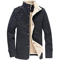 Vcansion Men's Winter Fleece Windproof Jacket Wool Outerwear Single Breasted Classic Cotton Windbreaker Jacket Coats Bronze