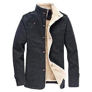 Vcansion Men's Winter Fleece Windproof Jacket Wool Outerwear Single Breasted Classic Cotton Windbreaker Jacket Coats
