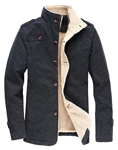 Vcansion Men's Winter Fleece Windproof Jacket Wool Outerwear Single Breasted Classic Cotton Windbreaker Jacket Coats Black L