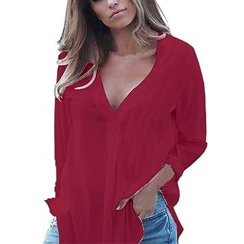 ❤ Camisas Mujer,Modaworld Camisas de Gasa del V-Cuello del Trabajo de Oficina de Las Mujeres Tops Casuales de Manga Larga Camisa de Vestir Blusas ...