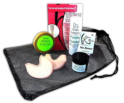 Ballet Pointe Shoe Accessory Bundle - Toe Pads, Mesh Bag, Pointe Snaps, Tape, Powder, Rosin - Perfect for any Pointe Shoe (Shoe Bag Kit)