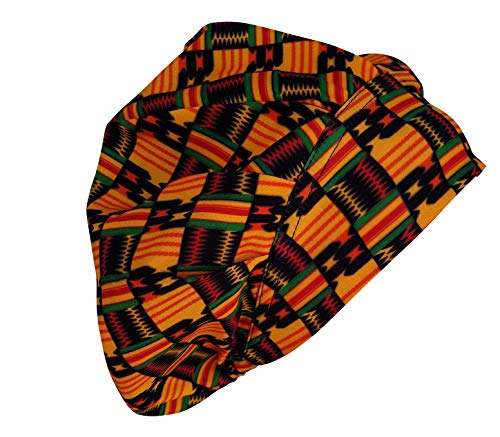African Kente Print Adjustable Bouffant Medical Surgical Hat Scrub Cap Women's Satin Lined