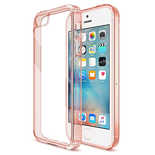 XDesign iPhone 5S / 5 / SE Clear Case Hybrid Scratch Resistant Bumper Case for iPhone Se/ 5s/ 5 [Ultra Clear][Anti Scratch][Shock Absorption] - Clear Peach Rose