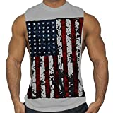 Solid T Shirt Toddler,Men Printed Sports Vest Pure Cotton Pure Large Open-Forked Male Vest,Gray,M