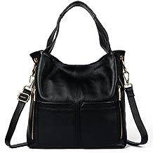 Yaluxe Women's Soft Genuine Leather Hobo Shoulder Bag Crossbody Open Pocket Handbag Satchel Black
