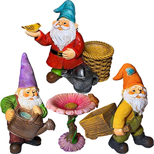 """Mood Lab Miniature Gardening Gnomes Set of 4 pcs - 3,5"""" H Garden Gnome Figurines & Accessories - Kit for Outdoor or House Decor"""