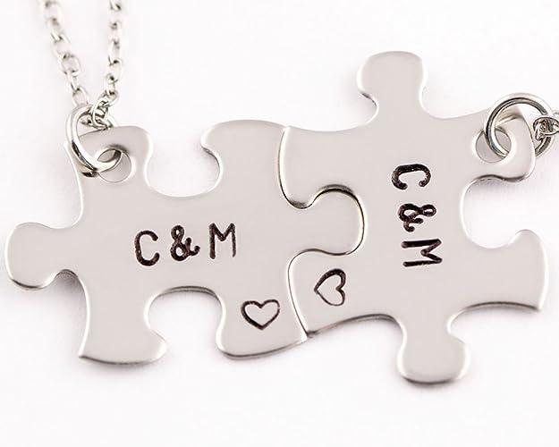 2 Piece Personalized Interlocking Puzzle Necklace Set