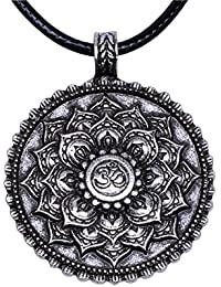 Yoga Inspired Om Lotus Mandala Necklace Pendant for Women Men Tibetan Buddhist Protection Jewelry
