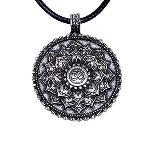 Pendant Symbol Female (Paw Paw House Yoga Inspired Om Lotus Mandala Pendant Necklace for Women Men Tibetan Buddhist Symbol Meditation Jewelry Bohemian (4029Si))