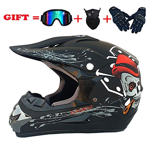 CAKUI Cool Skull Motocross Helmet, Adult Personality Motocross Mountain Bike ATV Rider Full Helmet, DOT Certified Helmet (Set of 4) Matte Black,L:58~59cm