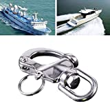 1PCS Heavy Duty Snap Shackle D Ring Swivel Bail, for Marine Boat Yacht Sailing Stainless Steel Marine Hardware Boat Parts